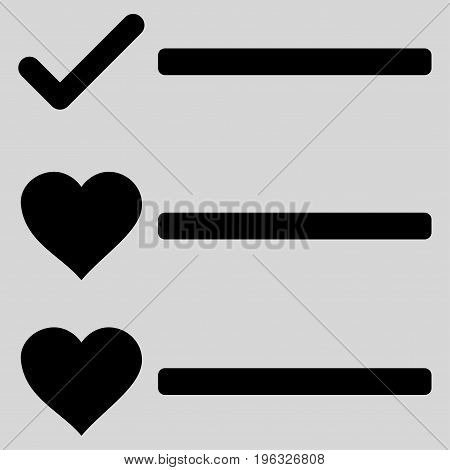 Love List flat icon. Vector black symbol. Pictogram is isolated on a light gray background. Trendy flat style illustration for web site design, logo, ads, apps, user interface.