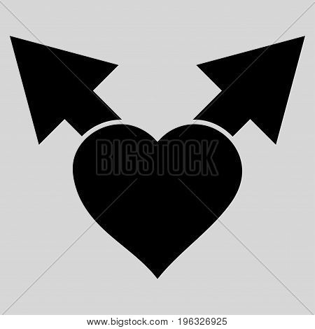 Love Variant Arrows flat icon. Vector black symbol. Pictogram is isolated on a light gray background. Trendy flat style illustration for web site design, logo, ads, apps, user interface.