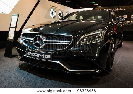 BERLIN - JANUARY 24 2015: Showroom. Mid-size luxury car Mercedes-Benz CLS 63 AMG. Produced since 2013.