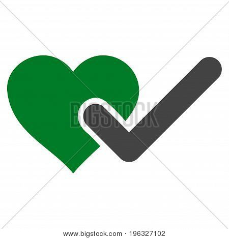 Checked Love Heart flat icon. Vector bicolor green and gray symbol. Pictograph is isolated on a white background. Trendy flat style illustration for web site design, logo, ads, apps, user interface.