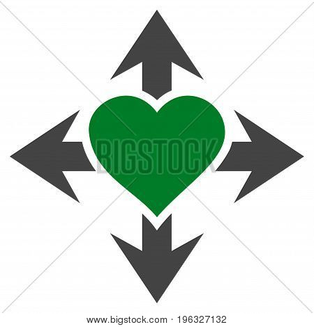 Expand Love Heart flat icon. Vector bicolor green and gray symbol. Pictograph is isolated on a white background. Trendy flat style illustration for web site design, logo, ads, apps, user interface.