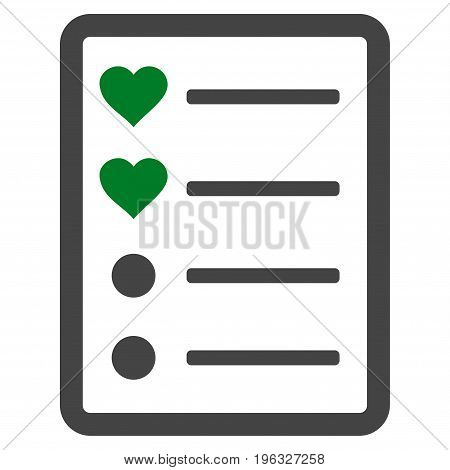 Love List Page flat icon. Vector bicolor green and gray symbol. Pictogram is isolated on a white background. Trendy flat style illustration for web site design, logo, ads, apps, user interface.
