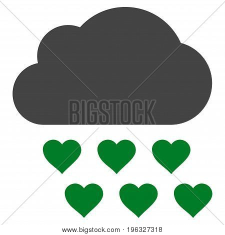 Love Rain Cloud flat icon. Vector bicolor green and gray symbol. Pictograph is isolated on a white background. Trendy flat style illustration for web site design, logo, ads, apps, user interface.