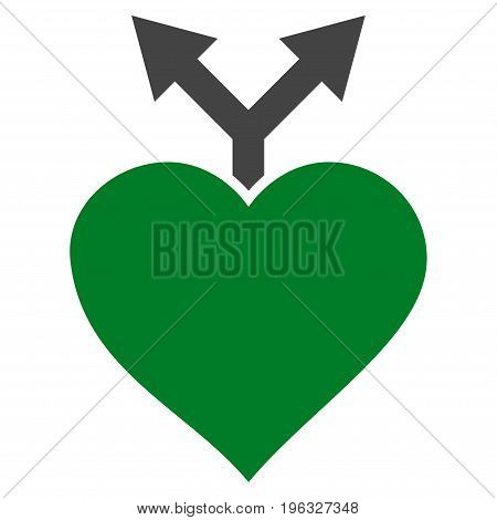 Love Variants flat icon. Vector bicolor green and gray symbol. Pictogram is isolated on a white background. Trendy flat style illustration for web site design, logo, ads, apps, user interface.