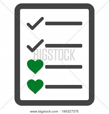 Lovely List Page flat icon. Vector bicolor green and gray symbol. Pictogram is isolated on a white background. Trendy flat style illustration for web site design, logo, ads, apps, user interface.