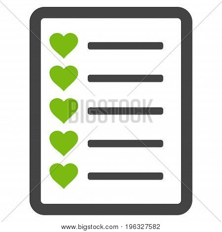Favourites List Page flat icon. Vector bicolor light green and gray symbol. Pictograph is isolated on a white background. Trendy flat style illustration for web site design, logo, ads, apps,