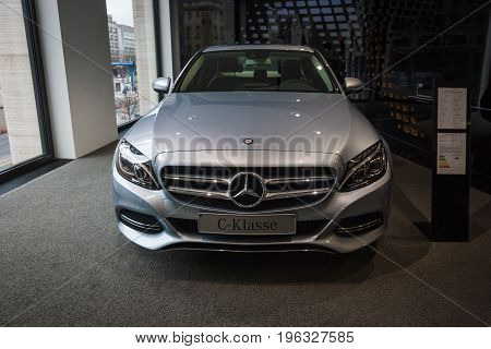 BERLIN - JANUARY 24 2015: Showroom. Compact executive car Mercedes-Benz C220 BT Limousine. Produced since 2014.