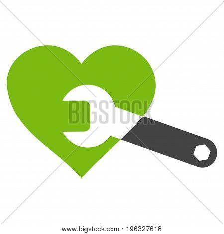 Heart Surgery Wrench flat icon. Vector bicolor light green and gray symbol. Pictogram is isolated on a white background. Trendy flat style illustration for web site design, logo, ads, apps,