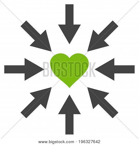 Impact Love Heart flat icon. Vector bicolor light green and gray symbol. Pictogram is isolated on a white background. Trendy flat style illustration for web site design, logo, ads, apps,