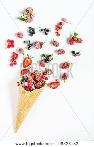 frozen berries in the ice cream cone