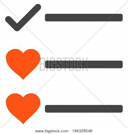 Love List flat icon. Vector bicolor orange and gray symbol. Pictogram is isolated on a white background. Trendy flat style illustration for web site design, logo, ads, apps, user interface.