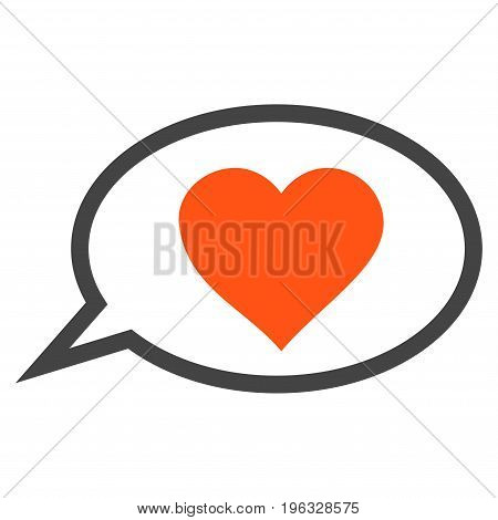 Love Message Balloon flat icon. Vector bicolor orange and gray symbol. Pictograph is isolated on a white background. Trendy flat style illustration for web site design, logo, ads, apps,