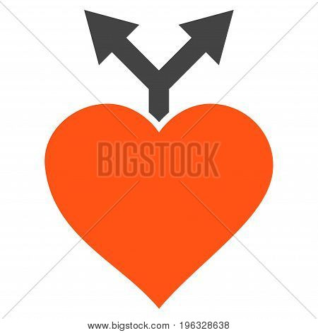 Love Variants flat icon. Vector bicolor orange and gray symbol. Pictograph is isolated on a white background. Trendy flat style illustration for web site design, logo, ads, apps, user interface.
