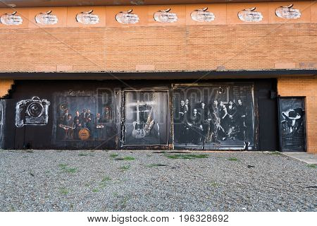 Asbury Park NJ USA -- July 21 2017--Wall of a of a dilapidated building near the boardwalk in Asbury Park NJ. Editorial Use Only