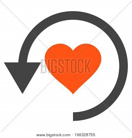 Refresh Love flat icon. Vector bicolor orange and gray symbol. Pictograph is isolated on a white background. Trendy flat style illustration for web site design, logo, ads, apps, user interface.