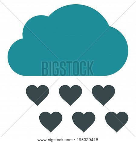 Love Rain Cloud flat icon. Vector bicolor soft blue symbol. Pictograph is isolated on a white background. Trendy flat style illustration for web site design, logo, ads, apps, user interface.