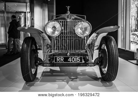 BERLIN - MARCH 08 2015: Showroom. Rolls-Royce Phantom I Experimental Sports Tourer by Barker & Co. 1926. Black and white. Rolls-Royce Motor Cars Limited global manufacturer of luxury cars.