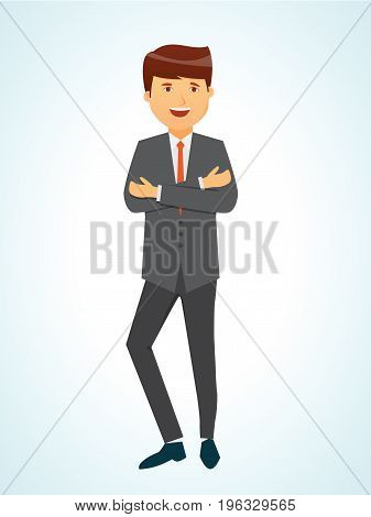 Successful businessman company leader employee clerk manager rejoices in success in career growth and development. Vector illustration isolated in cartoon style.