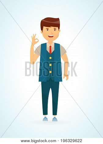 Young man a fashion hipster a modern mod shows a sign of ok subordination agreement approval good mood. Vector illustration isolated in cartoon style.