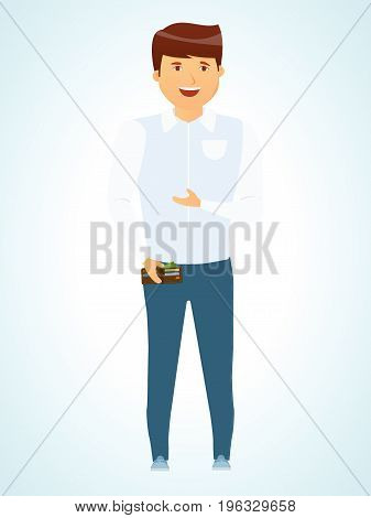 Businessman. Successful young man. Business people character in fashionable casual clothes. Vector illustration isolated in cartoon style.