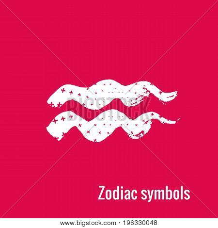 Signs of the zodiac. Aquarius symbol calligraphy. Fashion illustration style. Vector illustration white isolated on a pink background. Concept for women's T-shirts, fashion magazines and blogs.