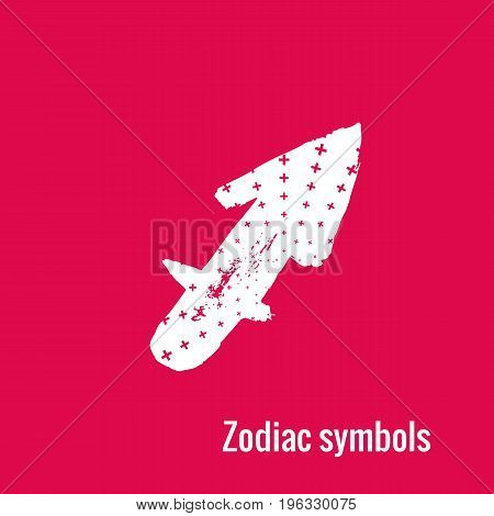Signs of the zodiac. Sagittarius symbol calligraphy. Fashion illustration style. Vector illustration white isolated on a pink background. Concept for women's T-shirts, fashion magazines and blogs.
