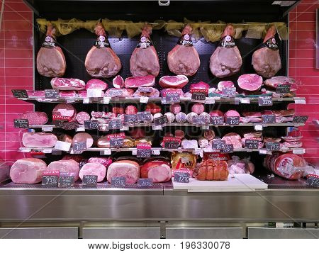 ROME, ITALY. July 18, 2017: Deli, delicatessen department in a grocery store (COOP) in Rome, Italy. Cold cuts products.