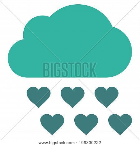 Love Rain Cloud flat icon. Vector bicolor cobalt and cyan symbol. Pictograph is isolated on a white background. Trendy flat style illustration for web site design, logo, ads, apps, user interface.