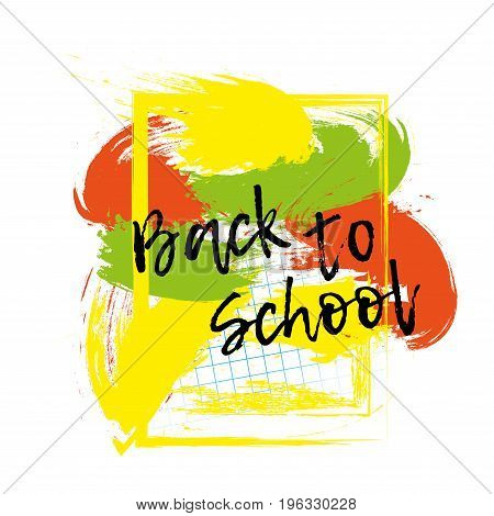 Back to school banner or poster. Abstract background with cell. Vector illustration.