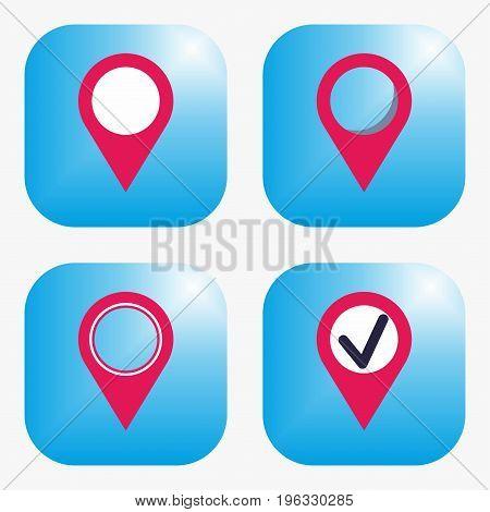 Geo tag icon. Set of four icons