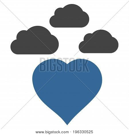 Cloudy Love Heart flat icon. Vector bicolor cobalt and gray symbol. Pictograph is isolated on a white background. Trendy flat style illustration for web site design, logo, ads, apps, user interface.