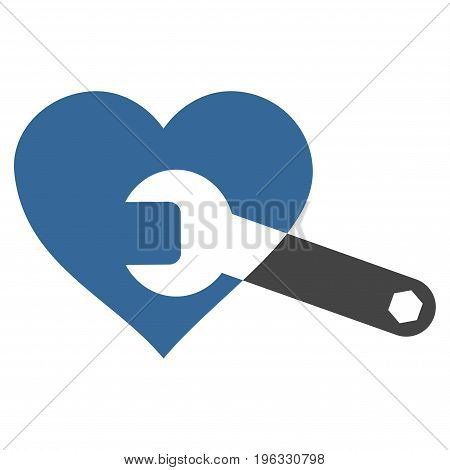 Heart Surgery Wrench flat icon. Vector bicolor cobalt and gray symbol. Pictograph is isolated on a white background. Trendy flat style illustration for web site design, logo, ads, apps,
