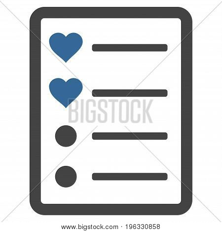 Love List Page flat icon. Vector bicolor cobalt and gray symbol. Pictogram is isolated on a white background. Trendy flat style illustration for web site design, logo, ads, apps, user interface.