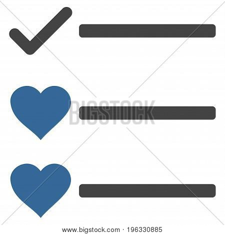Love List flat icon. Vector bicolor cobalt and gray symbol. Pictogram is isolated on a white background. Trendy flat style illustration for web site design, logo, ads, apps, user interface.