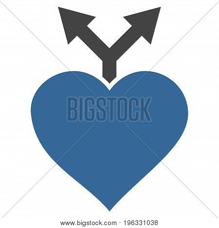 Love Variants flat icon. Vector bicolor cobalt and gray symbol. Pictograph is isolated on a white background. Trendy flat style illustration for web site design, logo, ads, apps, user interface.