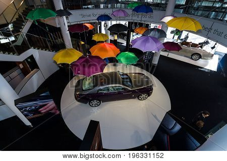 BERLIN - MARCH 08 2015: Showroom. Full-size car Rolls-Royce Wraith (2013). Top view. Rolls-Royce Motor Cars Limited global manufacturer of luxury cars.