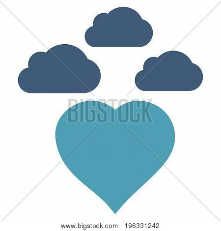 Cloudy Love Heart flat icon. Vector bicolor cyan and blue symbol. Pictogram is isolated on a white background. Trendy flat style illustration for web site design, logo, ads, apps, user interface.