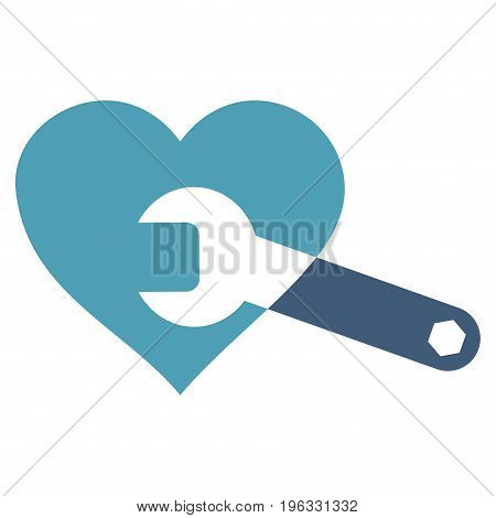 Heart Surgery Wrench flat icon. Vector bicolor cyan and blue symbol. Pictogram is isolated on a white background. Trendy flat style illustration for web site design, logo, ads, apps, user interface.