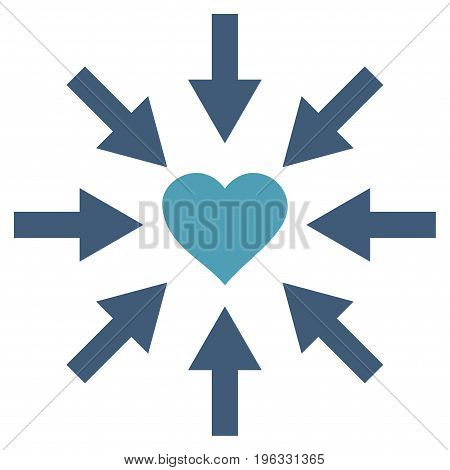 Impact Love Heart flat icon. Vector bicolor cyan and blue symbol. Pictograph is isolated on a white background. Trendy flat style illustration for web site design, logo, ads, apps, user interface.