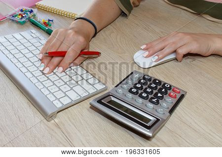 Young woman working in office sitting at desk using computer. Business woman working at the office
