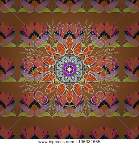 Seamless Floral Pattern in Vector illustration. Flowers on colorful background.