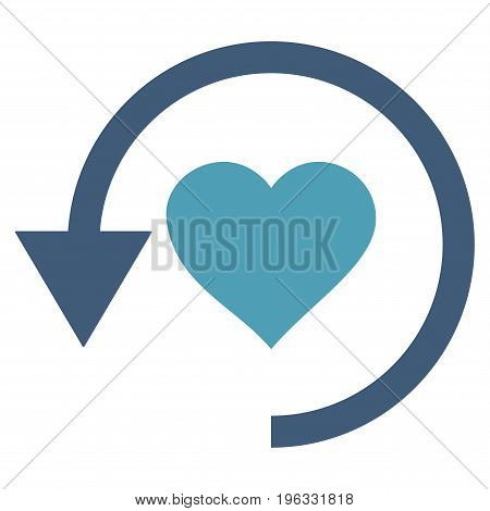 Refresh Love flat icon. Vector bicolor cyan and blue symbol. Pictograph is isolated on a white background. Trendy flat style illustration for web site design, logo, ads, apps, user interface.