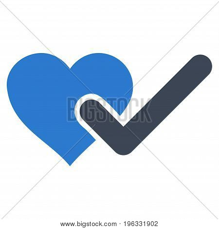 Checked Love Heart flat icon. Vector bicolor smooth blue symbol. Pictogram is isolated on a white background. Trendy flat style illustration for web site design, logo, ads, apps, user interface.