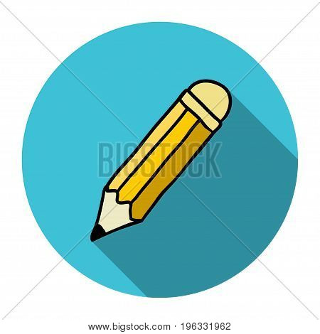 Pencil flat icon with shadow. It can be used as - logo pictogram icon infographic element.