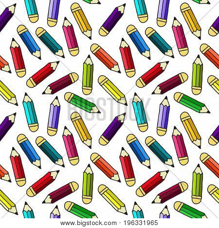 Background with pencils. Vector seamless pattern for your design.