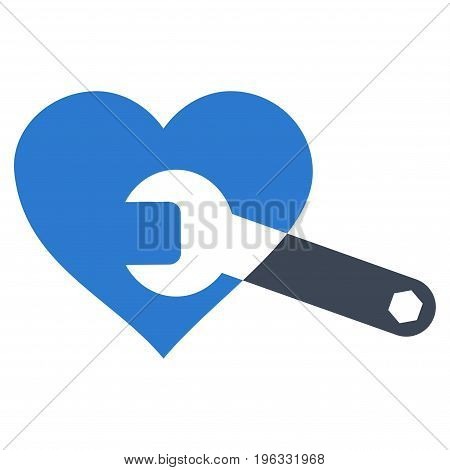 Heart Surgery Wrench flat icon. Vector bicolor smooth blue symbol. Pictogram is isolated on a white background. Trendy flat style illustration for web site design, logo, ads, apps, user interface.