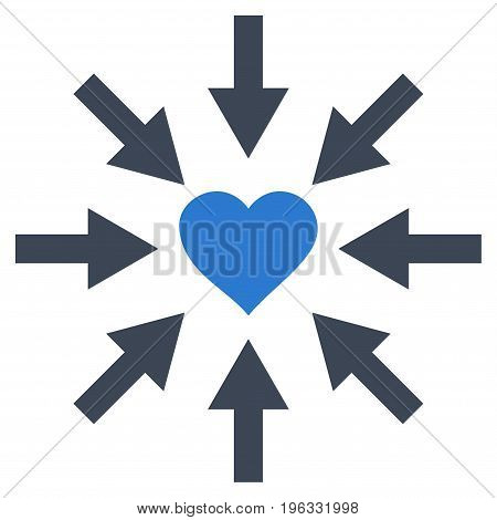 Impact Love Heart flat icon. Vector bicolor smooth blue symbol. Pictogram is isolated on a white background. Trendy flat style illustration for web site design, logo, ads, apps, user interface.