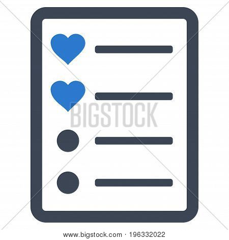 Love List Page flat icon. Vector bicolor smooth blue symbol. Pictogram is isolated on a white background. Trendy flat style illustration for web site design, logo, ads, apps, user interface.