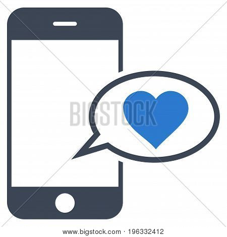 Smartphone Love Message flat icon. Vector bicolor smooth blue symbol. Pictogram is isolated on a white background. Trendy flat style illustration for web site design, logo, ads, apps, user interface.