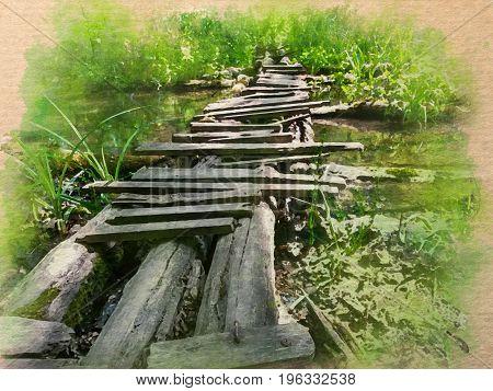Digital Watercolor pattern of a woody bridge across a river